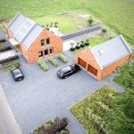 Moderne tuin vanuit de lucht